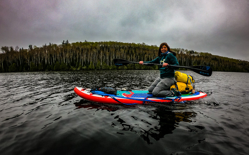 All bundled up as the misty rain hits us the whole paddle out
