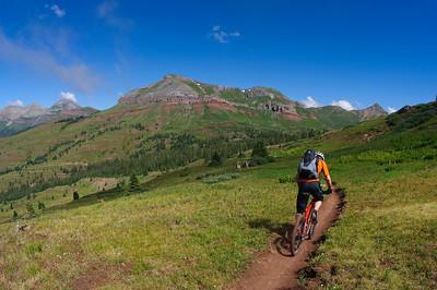 Mountain biking the Durango to Moab route with San Juan Huts. Colorado, Utah, USA
