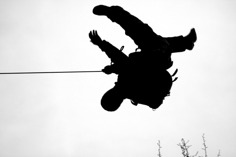 <h3>14. At the End of His Rope</h3> <br> Now upside-down and hanging there,<br> Now swiftly swinging low,<br> And back into the sky again,<br> As high as he can go!<br> <br> A vacillating pendulum<br> Of happiness that shouts,<br> Expressing loud to all around<br> The joy that's bursting out!<br>
