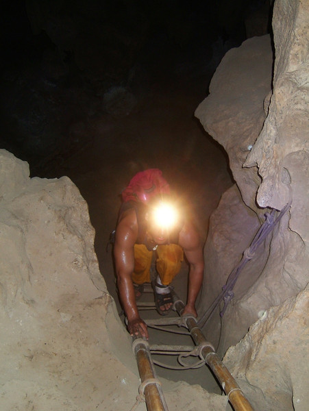 "<h3>28. Underground on A Bamboo Ladder</h3> <br> I know that men have gone before<br> And built an easy way<br> But still it feels adventuresome<br> ""Exploring"" in the caves.<br>"