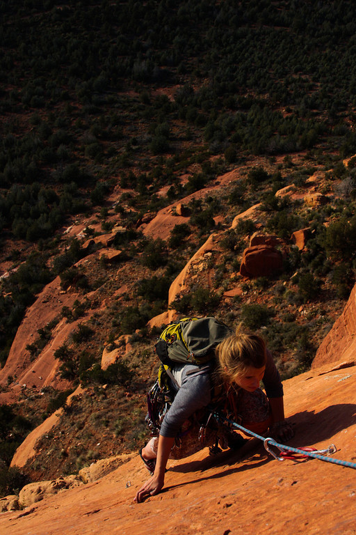 Tracy Borland works her way up the slab on the fourth pitch.