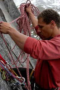 One factor involved in climbing a lot of routes in a row is the cluster achieved when rearranging gear a dozen times.