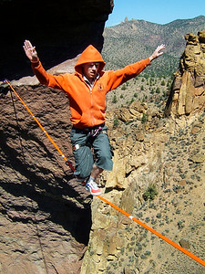Larry Harpe drops a knee on the Monkey Face Highline.