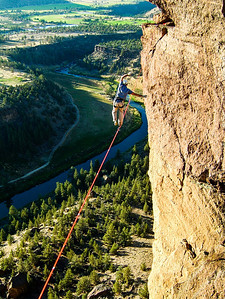 Time stands still as Shawn Snyder treads an impossible path high over the Crooked River.