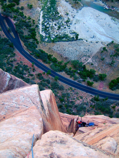This spacious belay ledge gives Kelsey a few minutes to recover his strength.