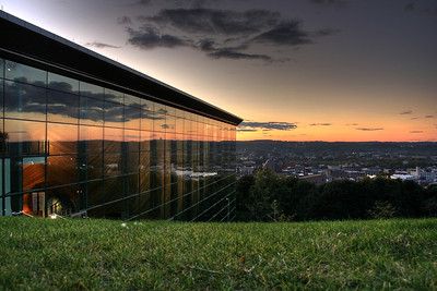 RPI's newest building. EMPAC at Sunset, overlooking Troy.