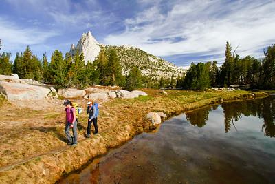 Climbers heading to Matthes Crest. Yosemite National Park, California, USA