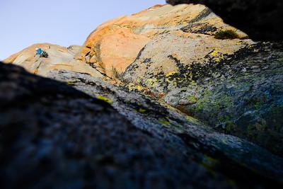 Rock climbing in Tioga Pass above Ellery Lake. Tuolumne Meadows. Yosemite National Park, California, USA