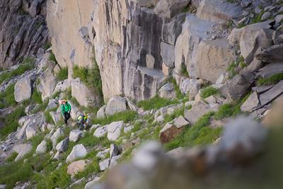 Rock climbers near Tuolumne Meadows. Yosemite National Park, California, USA