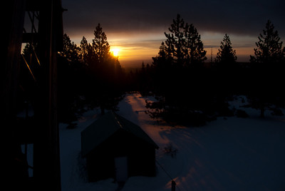 Sunrise from half-way up the tower. thats the wood shead.