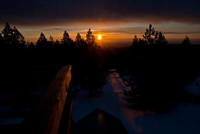 Dawn at 5-mile fire lookout tower in the Mt. Hood national forest.