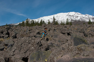 "Rock hopping through the ""worm flows"" below St. Helens."