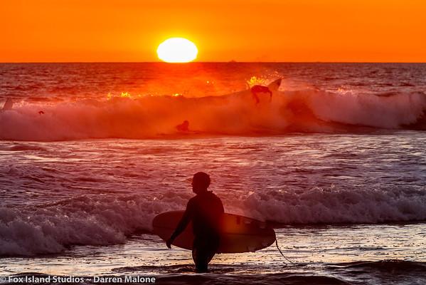 Huntington Beach Pier Sunset Surfers