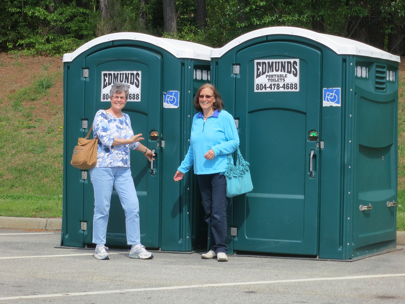 It's not a trip without checking out the porta-potties.
