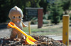 "Booboo's Adventures in Construction<br /> <br /> Continuing with her ""being-productive-with-her-copious-free-time"" theme, Booboo went down to help out at Joaquin Miller Elementary today. It seems like they are taking forever re-paving the parking lot. There are still large mounds of dirt. She thought that she would help out by shoveling it around, you know, to level the ground somewhat. At least, that's what she says she was doing. When we first saw her she looked more like she was just walking down the hill with a shovel in her hand. She might have been up to something else..."