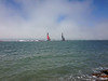 View of the America's Cup from walk along waterfront.