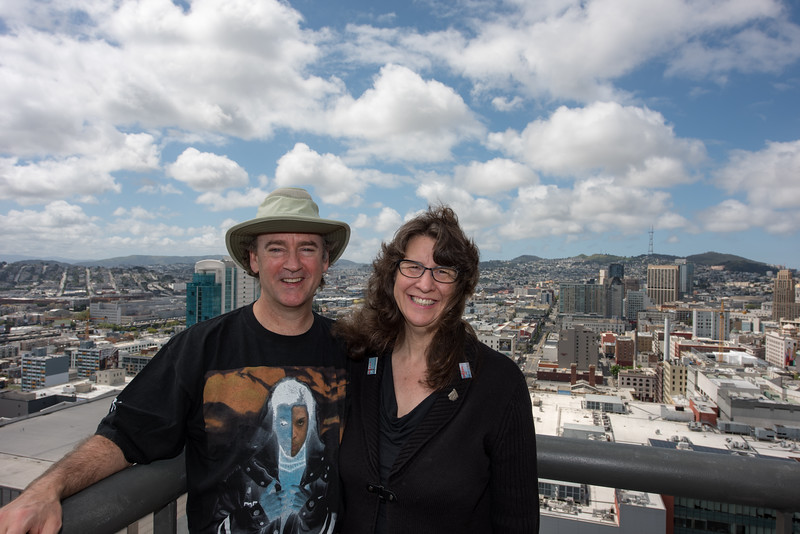 Hanging out on a balcony in the conference hotel for WACUBO 2016. Teresa was the chairman of the Host Committee.