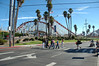 Crossing the street to the Santa Cruz Beach Boardwalk. The Giant Dipper is in the background.