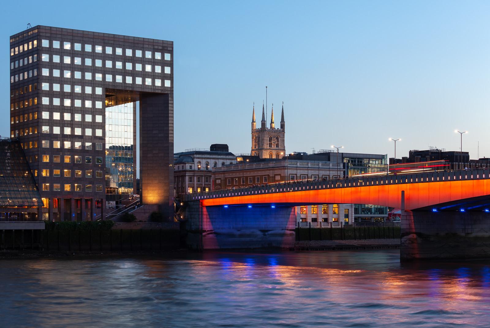 London Bridge lit up in London 2012 colours