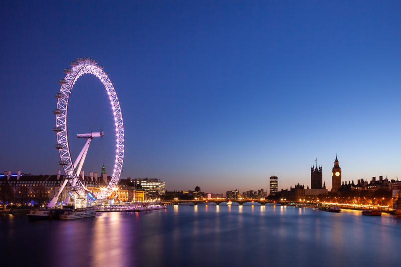The London Eye and Big Ben at night
