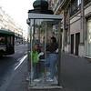 Making a phone call in Paris.