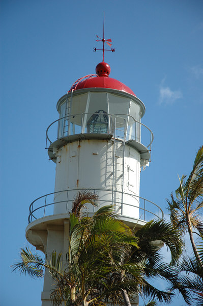 A view of the lighthouse from street-level