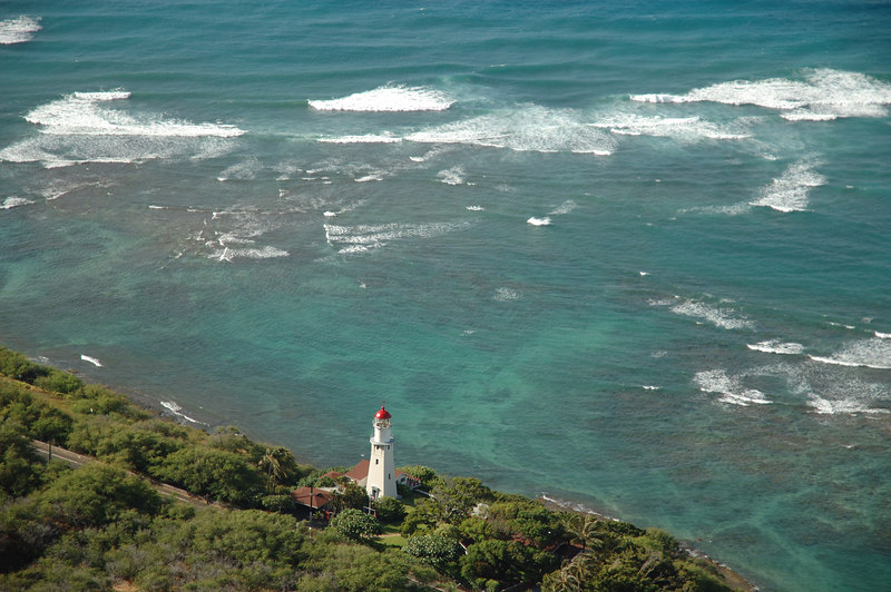 The lighthouse at the base of Diamond Head as seen from the top