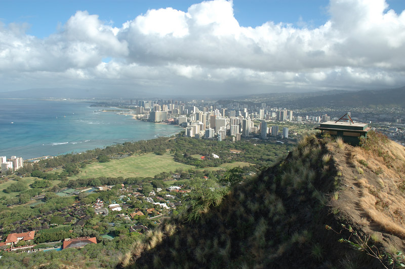 View towards Waikiki from the top of Diamond Head