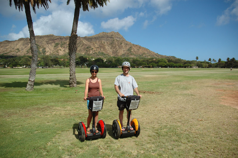 Posing on Segways with Diamond Head in the background