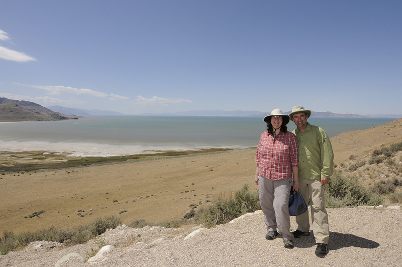 Teresa and I with our hats cinched tight against the wind with the Great Salt Lake in the background.