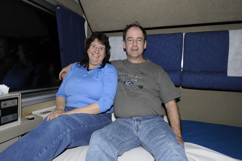 Trip 4, Train to Chicago - Teresa and Peter on the California Zephyr in our Amtrak SuperLiner bedroom