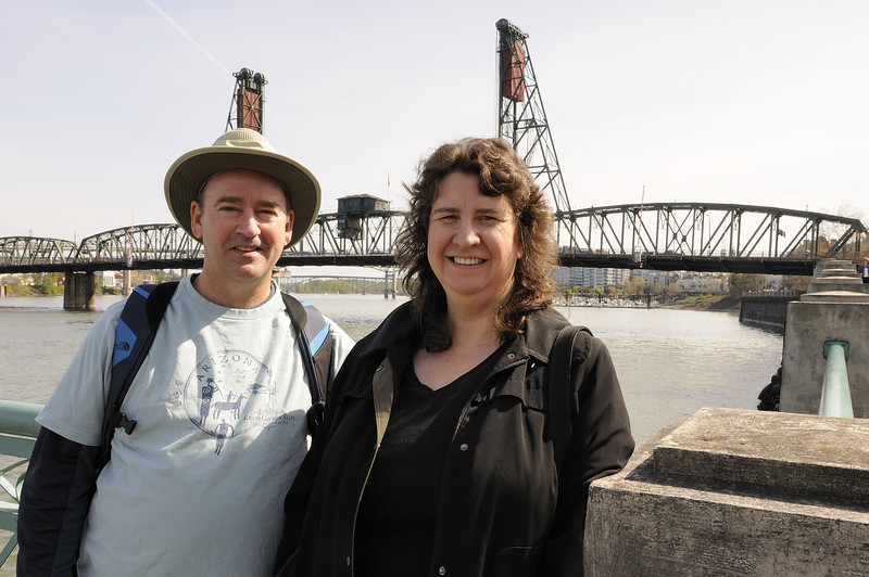 Trip 5, Portland - Peter and Teresa with the Hawthorne Bridge in the background