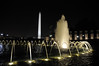 Washington Monument seen from the World War II Memorial at night