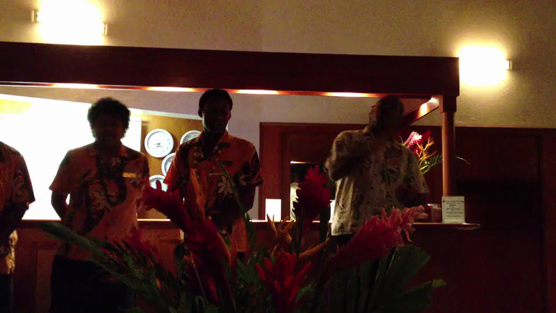 Bedarra Beach Inn staff singing the Fijian farewell song to us, Korotogo, Fiji.