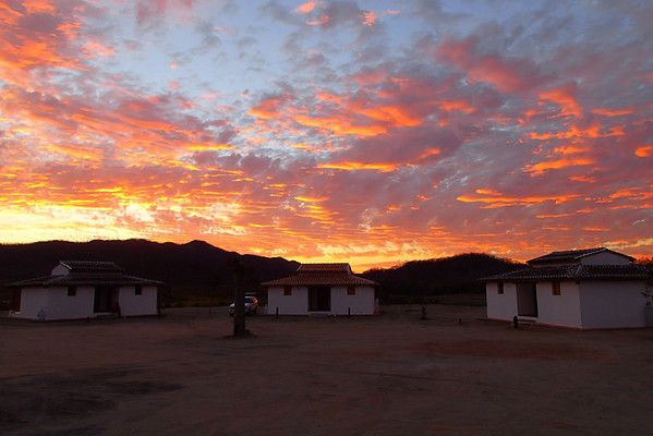 Sunset over the lodge at Lake Picachos