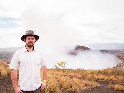 Max at the mouth of  Masaya Volcano