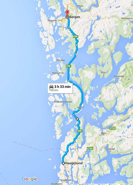 Our route from Bergen to Haugesund