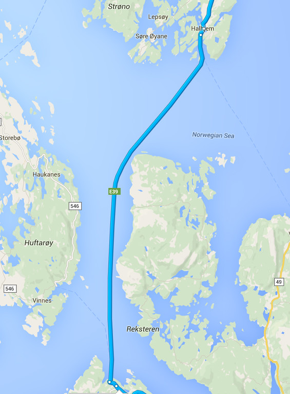 Halhjem-Sandvikvåg ferry route
