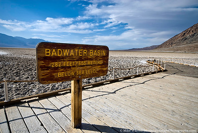 Badwater (282 feet below sea level, the lowest point in North America)
