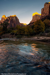 Sunrise on the Virgin River, Court of the Patriarchs.