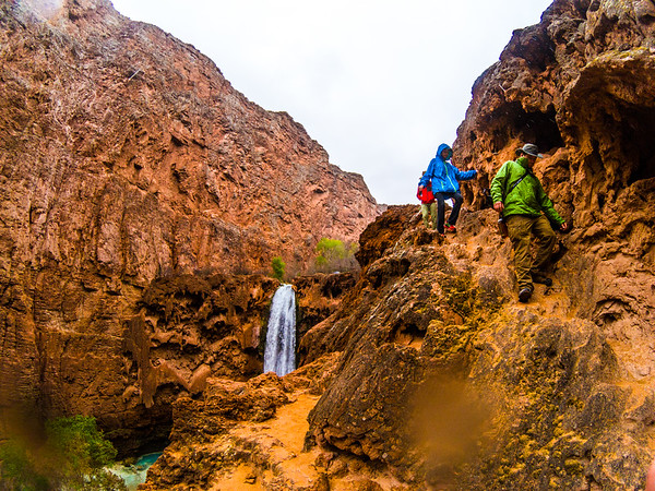 Hiking down Mooney Falls towards Beaver Fallls