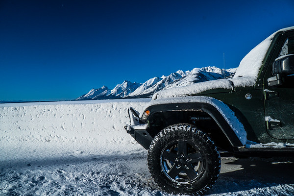 Snowy Jeep and Mountains - LOVE!