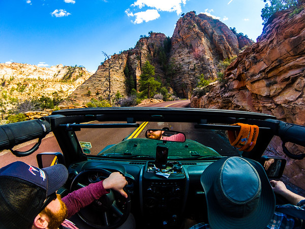 Adventure buddies going topless through Zion!