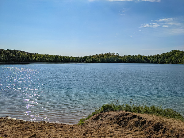 Love the easy access to the lake to go for a dip and clean off all the dirt.