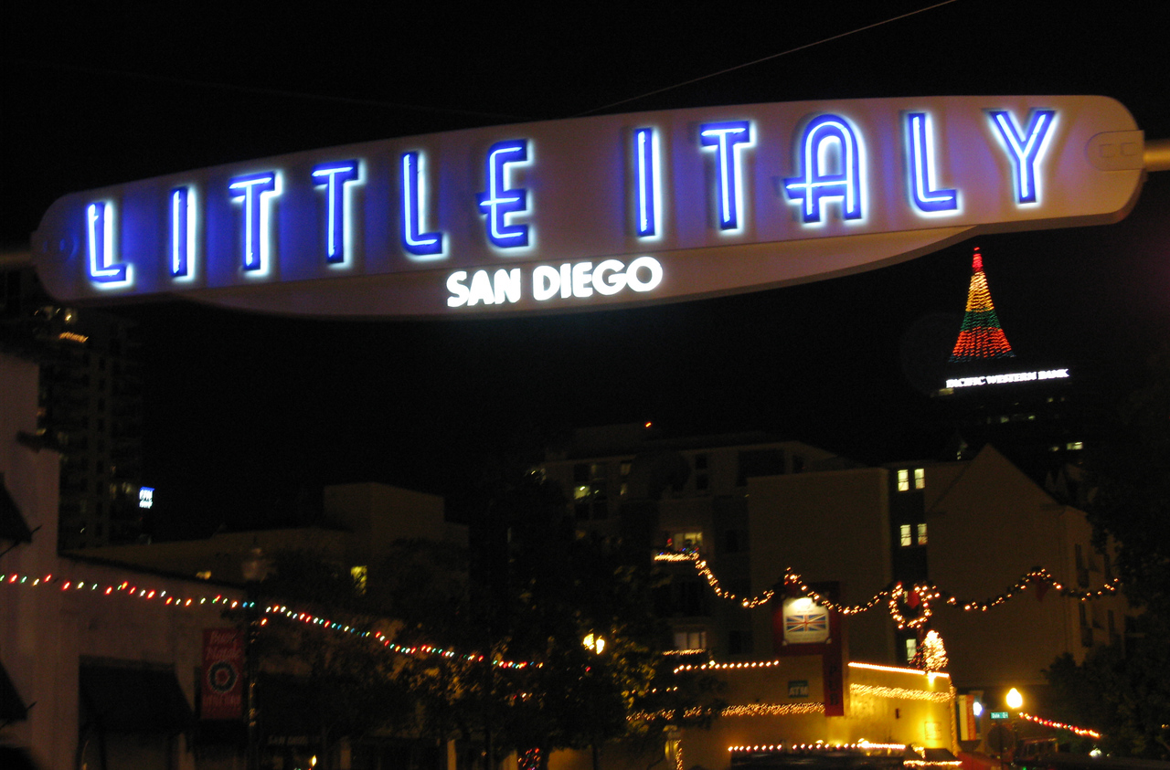 We went to Little Italy to find Italian food.