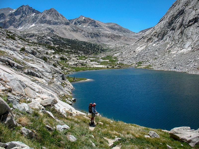 John stands above one of the Palisade Lakes.  Mather Pass, which we just crossed, is in the background.