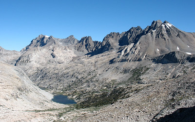 This is taken from Mather Pass and shows our route down to the lake.  From there we leave the trail and climb Cirque Pass, which start just beyond the second lake.