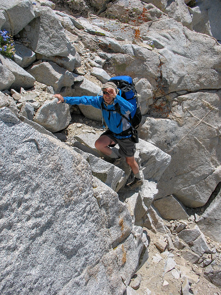 I gave the camera to John so he could take some photos of me climbing Vennacher Col.