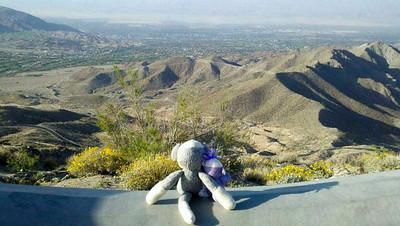 Cousins viewing the Coachella Valley below Vista Point.