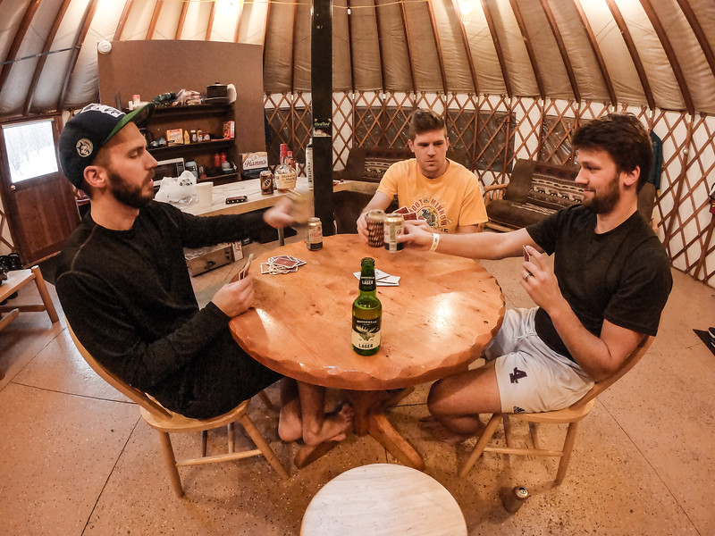 The 4 of us headed up a day before everyone else. Was up till 4am playing cards...